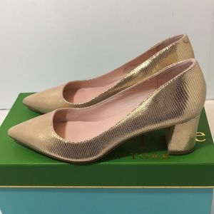 Kate Spade  Gold Metallic Printed Leather Shoes